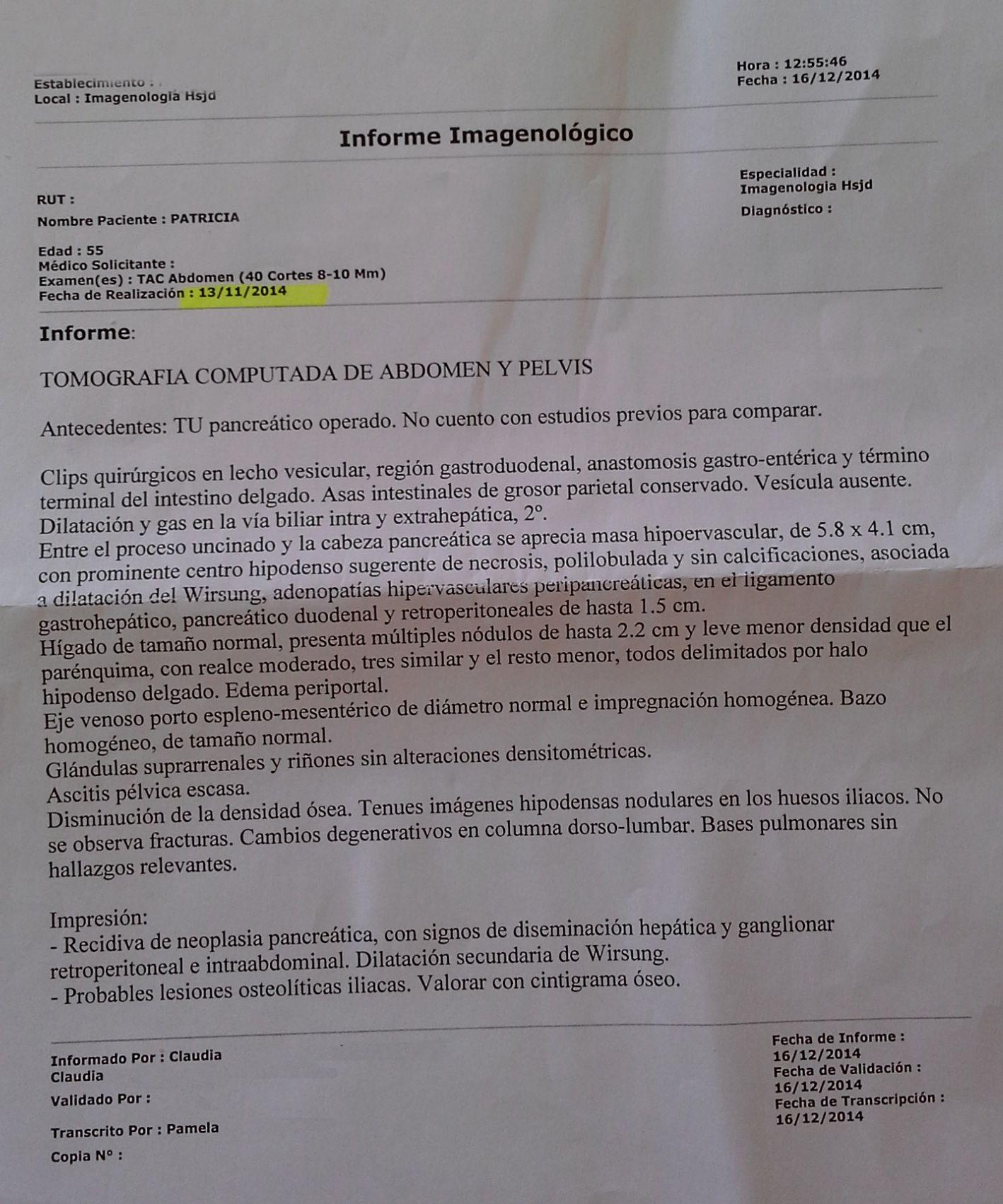 LifEscozul® - Patricia 18 - Cáncer de Páncreas