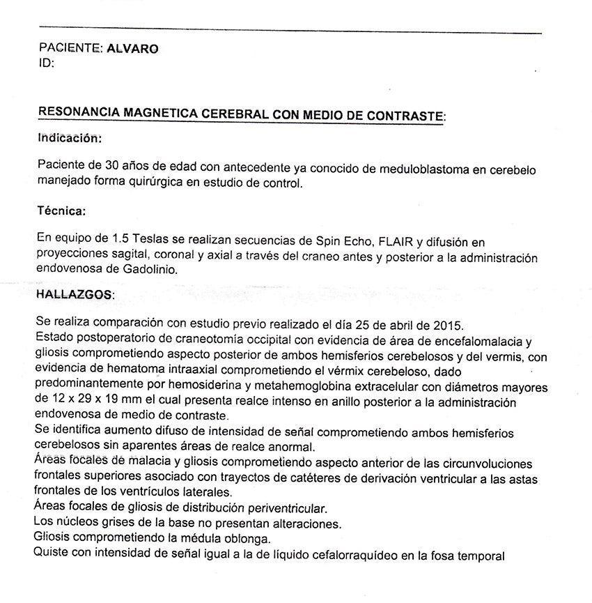 LifEscozul® - Alvaro 9 - Cáncer Cerebral
