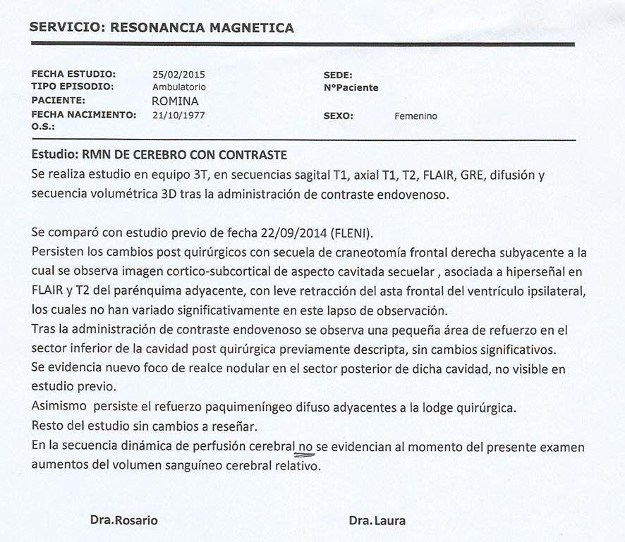 LifEscozul® - Romina 1 - Cáncer Cerebral