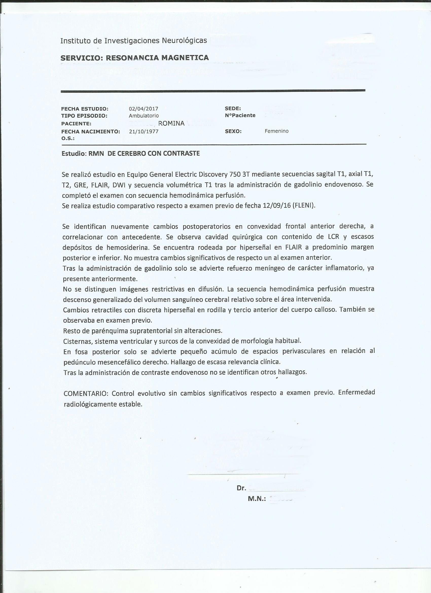 LifEscozul® - Romina 6 - Cáncer Cerebral