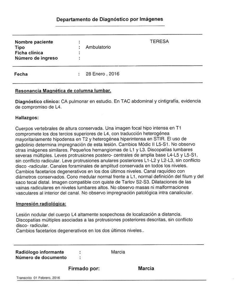 LifEscozul® - Teresa 8 - Cáncer de Pulmon