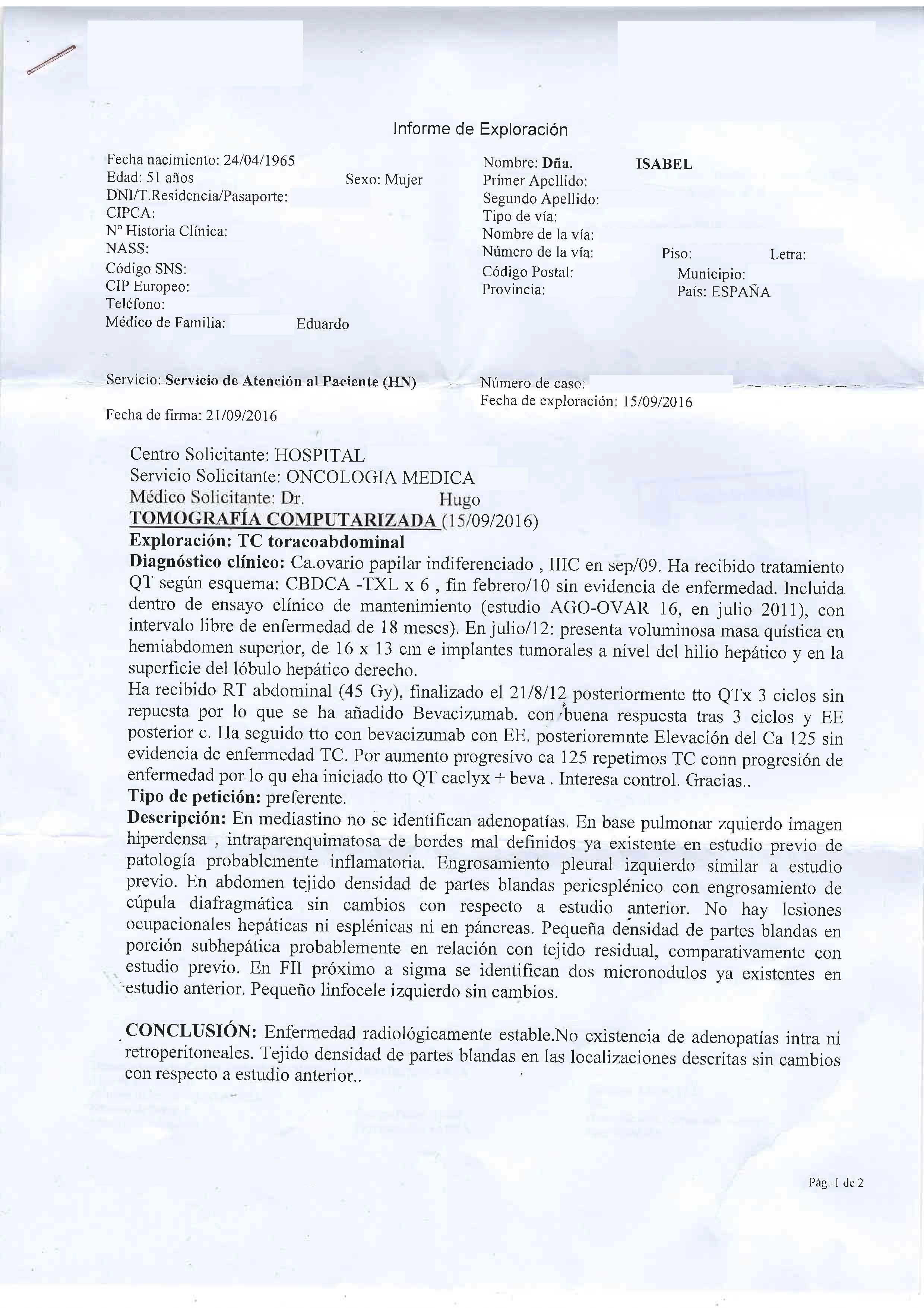 LifEscozul® - Isabel 1 - Cáncer de Ovarios