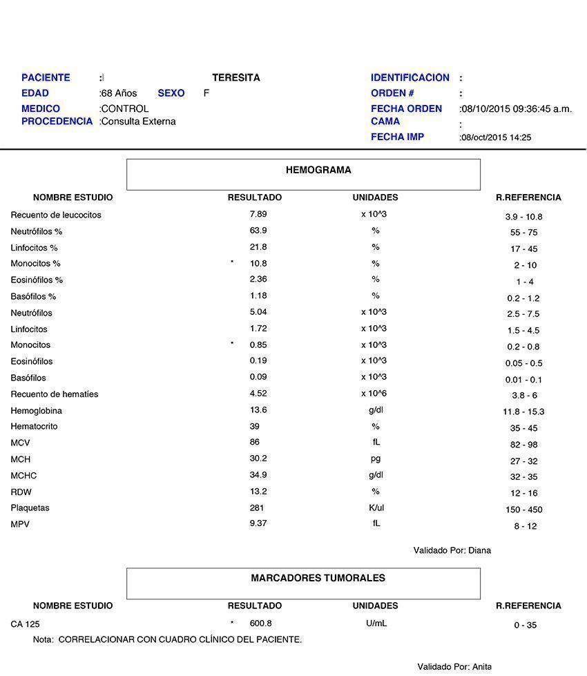 LifEscozul® - Teresita 1 - Cáncer de Ovarios