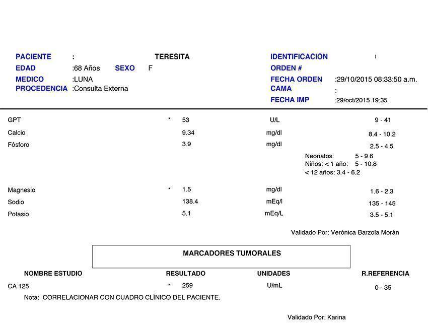 LifEscozul® - Teresita 4 - Cáncer de Ovarios