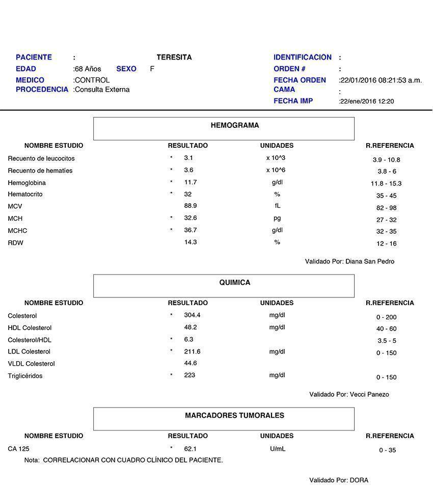 LifEscozul® - Teresita 5 - Cáncer de Ovarios